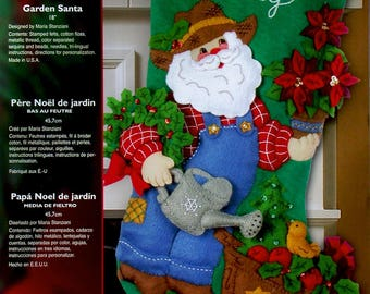 "Garden Santa 18"" Bucilla Felt Christmas Stocking Kit #85428"