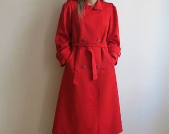 ON SALE Hot Red Coat Womens Trench Coat Wool Coat Outerwear Raincoat Belted Double Breasted Coat Medium Size