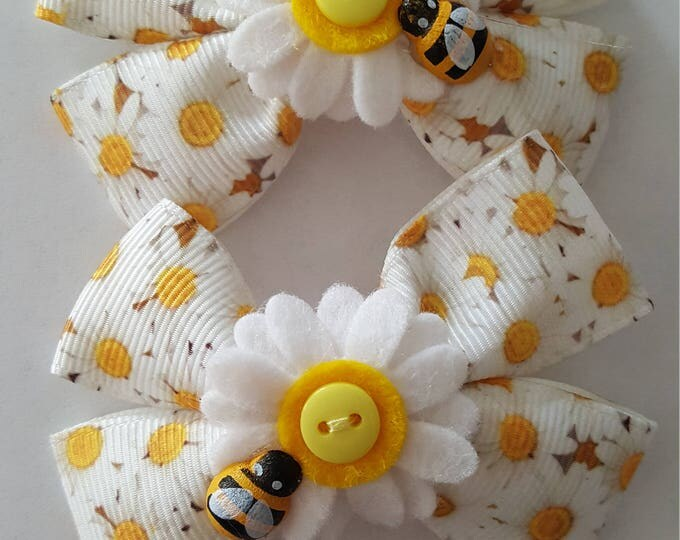 Featured listing image: Sunflower Daisy hair bows x 2 plait set with bumble bee details