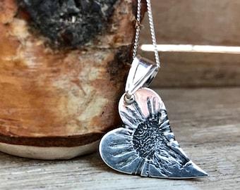 Botanical Collection - Bellis perennis  -Wild Daisy Fine Silver Pendant