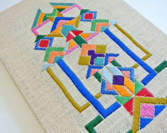 Wall art, colourful original hand embroidery
