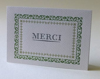 Merci (Thank You), letterpress printed