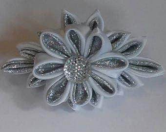 Kanzashi double flower hair clip