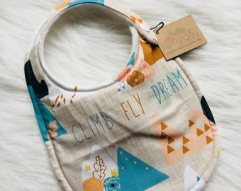 Baby girl bib, designer bib with snap. Mountains. Dream. Coral. Blue. Hipster. Modern. Drooling.