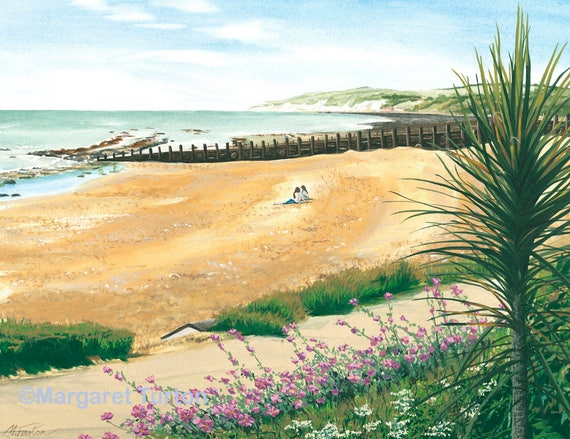 A Beach with a View print, mounted and signed by artist