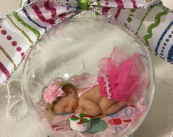 "Baby Girl's Christmas...Newborn 4"" Ornament...Polymer Clay Ornament with glass base"