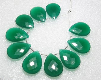 Green Onyx - 5 Matching Pairs - Faceted - Pear Shape - size 18x25 mm