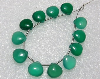 Green Onyx - 6 Matching Pairs - Smooth - Heart Shape - size 8x8 mm