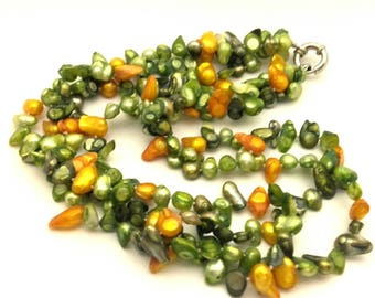 Vintage Potate Freshwater Pearl Green & Golden Necklace Handmade 3 Row #117
