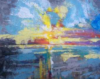 California coast ocean sunset original abstract painting acrylic