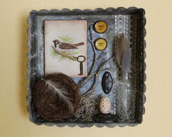 The Songbird Tin - Found Object Assemblage Shadowbox