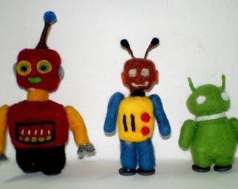 3 OOAK Robot Figures, Decorative Robot Dolls needle felted