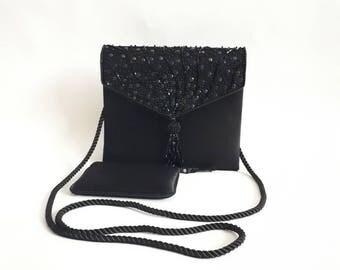 St Michael bag 1980's vintage bag beaded bag 80's evening bag black vintage bag shoulder bag ladies vintage bag vintage purse