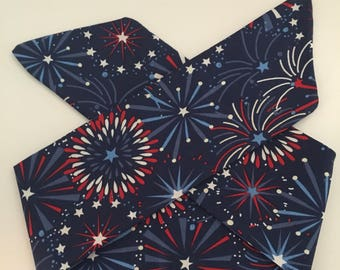 SALE! Summer Fireworks Handmade Fabric Pinup-Inspired Head Scarf