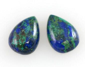 Azurite Malachite Pairs 14x10mm Pear Shape Cabochons