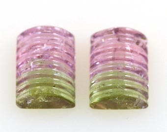 Watermelon Tourmaline Pair of Carved Cabochons