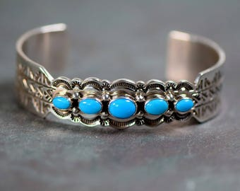 Joe Delgarito Navajo Sleeping Beauty Turquoise Sterling Silver Cuff Bracelet