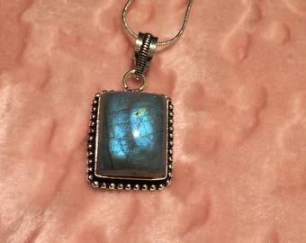 Vintage Labradorite Pendant Necklace - Blue Labradorite Pendant Necklace - Sterling Silver Labradorite Necklace-Labradorite Pendant Necklace