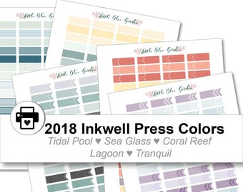 2018 Inkwell Press Planner & others Quarter Box + Flags Printable Sticker Kit, Tidal Pool, Sea Glass, Coral Reef, Lagoon - Instant Download