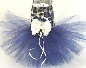 Navy Leopard Dog Harness Dress XXSmall Dog Dress to X4 Large Dog Dress, Dog Dresses. Dog Clothes, Pink Dog Dress, Designer Dog Dress.