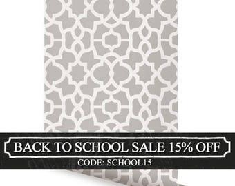 Trellis Warm Grey Peel & Stick Fabric Wallpaper Repositionable