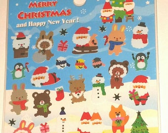 KAWAII CHRISTMAS CRITTERS Stickers Cute Animals Reindeer Bears Bunnies Huskies Penguins Sheep Snowman Winter North Pole Santa Craft Supply