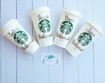 Bride Starbucks Cup, bridesmaid gift, Wedding Starbucks Cups, Bridesmaid Starbucks, Wedding Gifts, Bride Gift,Personalized Gift,Bridal Party