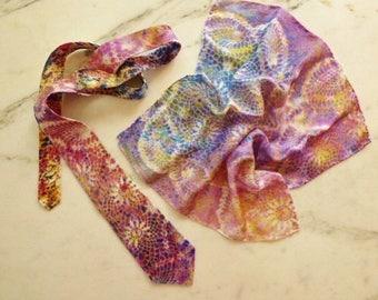 Silk Necktie, and Handkerchief Tie and Silk Pocket Square Set Rainbow