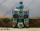 Enameled Thunderbird Pendant with Murrini Blue Hare Art Wear Jewelry Components Jewelry Supplies