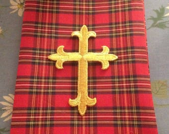 Red Plaid Tartan clergy stole Gold Cross