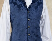 "18th Century Style Waistcoat - Damask Brocade - Deep Blue - 36"" Only"