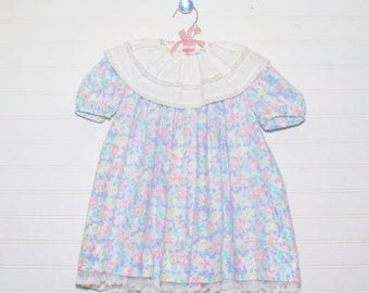 Vintage baby dress, blue and pink floral, Rare Editions sz 4T