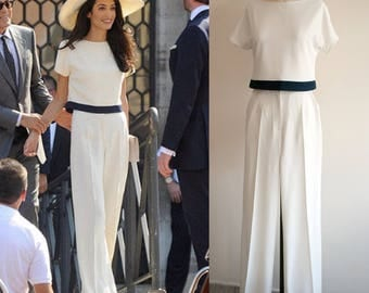 amal clooney cream pants suit white jumpsuit wedding jumpsuit wide leg jumpsuit