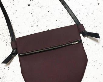 The Half Moon - Red Wine Vegan Leather Cross Body Bag with Zipper