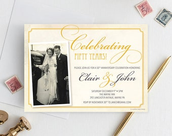50th Anniversary Invite - Wedding Anniversary Invite - Anniversary Party Invite - 40th Anniversary -  60th Anniversary