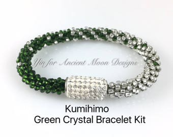 Kit, Kumihimo Green Crystal Bracelet