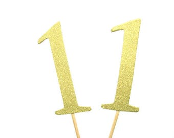 Set of 24Pcs - Gold Glitter 'NUMBER' Cupcake Toppers, Food Picks, Weddings, Bridal/Baby Shower Party Picks
