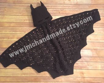 Hooded Batman Cape - Crochet Batman Cape - MADE TO ORDER