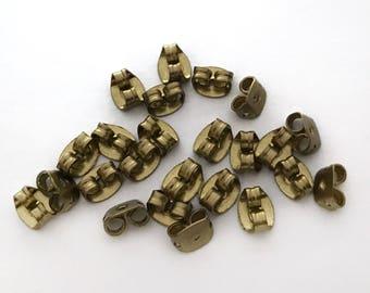 50x Brass Butterfly Earring Backs / Clutches - F088