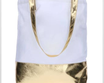 Metallic Gold and White Canvas Tote with Matching Cosmetic Bag