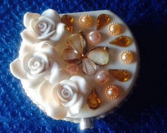 White floral Bling Sparkly contact lens case