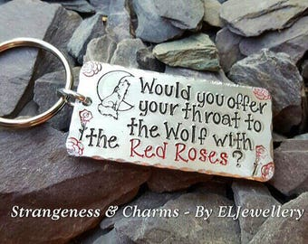 Hand Stamped 'Wolf with the Red Roses' Aluminium Keyring, Meatloaf Keyring, Wolves, Wolf, Stamped Keyring, Stamped Keychain,Metal Jewellery.