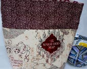 Marauder's Map, Hogwarts School, Witchcraft & Wizardry, Solemnly Swear Medium Size, Sock to Shawl Wedge Drawstring Tote Project Bag,