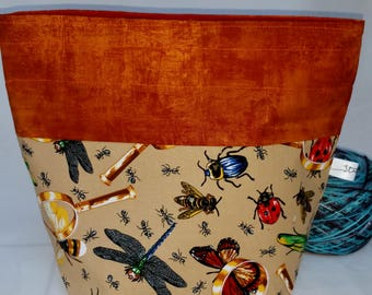 Drawstring Project Bag, Dragonfly, Ladybugs, Butterflies,  Crickets w/ Magnifying Glass, Medium Size Sock to Shawl Wedge Knitting  Tote Bag