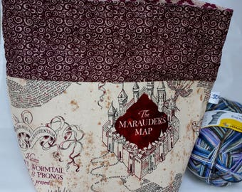 Marauder's Map, Hogwarts School, Witchcraft & Wizardry, Solemnly Swear Wedge Project Bag,  Choice of Zipper or Drawstring, Tote,