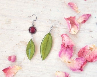 Dangle Acacia  earrings.  Asymmetrical rose jewelry. resin jewel with pressed flowers. real plant.  spring verdure
