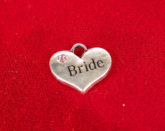 """5pc """"Bride"""" charms in antique silver style (BC1250)"""