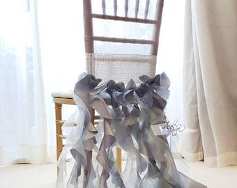 Silver Grey Bridal Chair Cover | Extra Long Ruffle Willow Sashes Slipcover with Optional Rhinestone Band for Bridal Shower Bride & Groom
