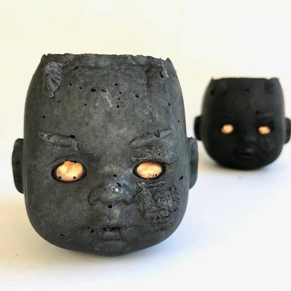 PeaboZombie Baby Doll Head Planter V3.0 (zombie)- Hypertufa