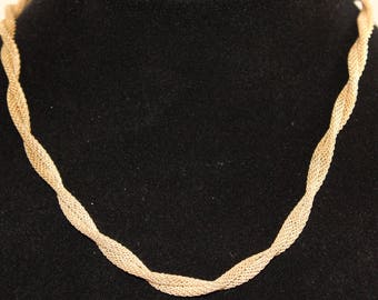 Vintage Sarah Coventry Gold Tone Snake Chain Twisted Necklace